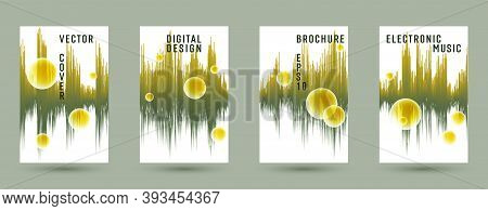 Music Covers Set With Sound Wave Background.  Abstract Digital Signal Amplitude.  Distorted Sound Wa