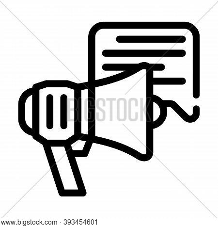 Advert Loudspeaker Line Icon Vector Illustration Sign