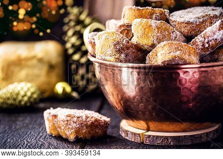 French Toast, Typical Brazilian Dessert For Christmas In Copper Pot. Fried Bread Jam With Sugar And