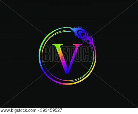 V Letter Decorated With Hologram Color Peacock Feather. Circle Badge With Peacock Feather.