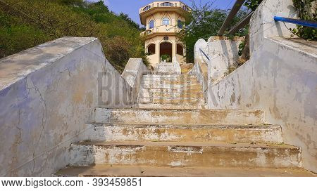 Stairs Uplifting Or Going Up To Indian Hindu Temple On Hill