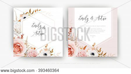 Vector Cute Floral Autumn Wedding Invite Card Template Set. Lush Fall Leaves, Blush Peach Pink And I