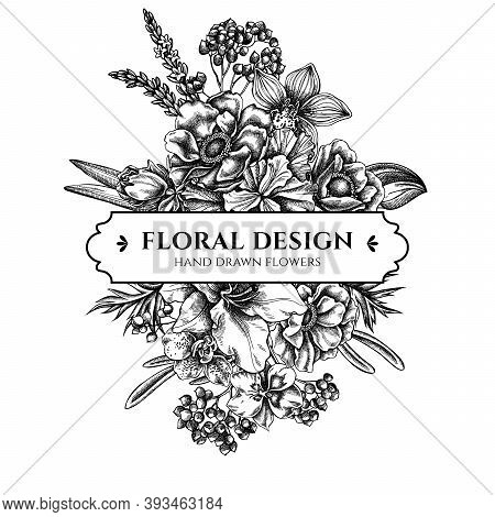 Floral Bouquet Design With Black And White Anemone, Lavender, Rosemary Everlasting, Phalaenopsis, Li