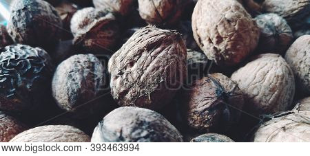 Walnuts Close-up. Harvest Of Nuts. Walnut Fruits, Rounded Large Single Single-seeded Drupes. A Healt