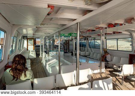 Isla Lobos, Fuerteventura, Spain: 2020 October 3: Tourists On The Ferry At The Isla Lobos Pier In Fu