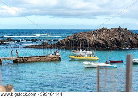 Isla Lobos, Fuerteventura, Spain: 2020 October 3: Pier On Isla Lobos In Fuerteventura In The Summer