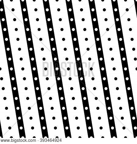 Diagonal Lines, Dots Seamless Pattern. Linear Motif. Angled Stripes Ornament. Striped Background. Pi