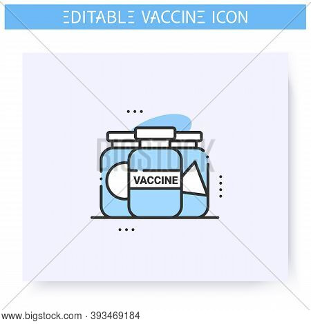 Covid19 Vaccine Samples Line Icon.vaccines From Different Countries.cure Search, Vaccine Development