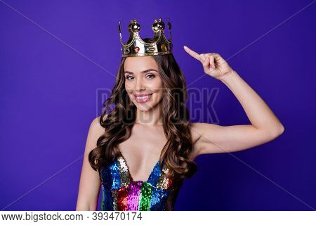 Photo Of Classy Lady Prom Queen Showing Head Crown Directing Finger Wear Shiny Sequins Dress Isolate