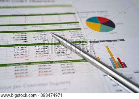Spreadsheet Table Paper With Pen. Finance Development, Banking Account, Statistics Investment Analyt