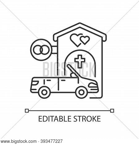 Drive Through Marriage Chapel Linear Icon. Small Church For Wedding. Car For Newlyweds. Thin Line Cu