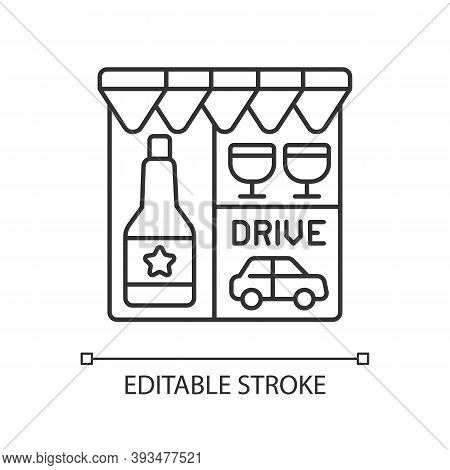 Drive Through Liquor Store Linear Icon. Alcohol And Spirits. Alcoholic Drinks In Shop. Thin Line Cus