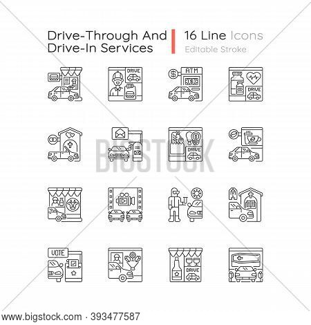 Drive Through Services Linear Icons Set. Auto On Fast Food Window. Groceries Store. Coffee Shop. Cus