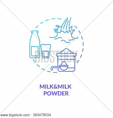Milk And Milk Powder Blue Gradient Concept Icon. Lactose Liquid Product. Nutrient Instant Formula. D