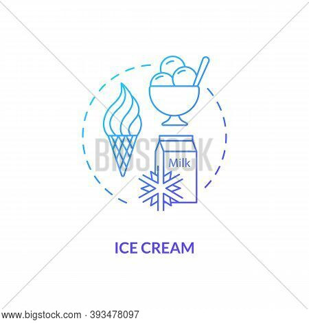 Ice Cream Blue Gradient Concept Icon. Frozen Yogurt. Sundae Scoop. Gelato For Summer Refreshment. Da