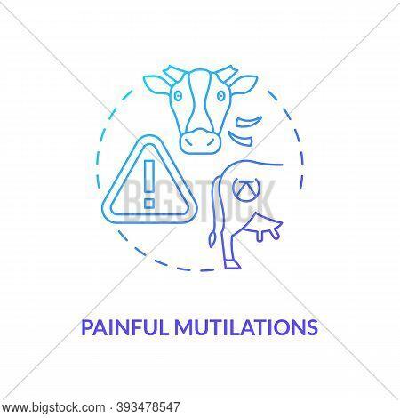 Painful Mutilation Blue Gradient Concept Icon. Animal Cruelty. Farm Livestock Abuse. Bovine Excision