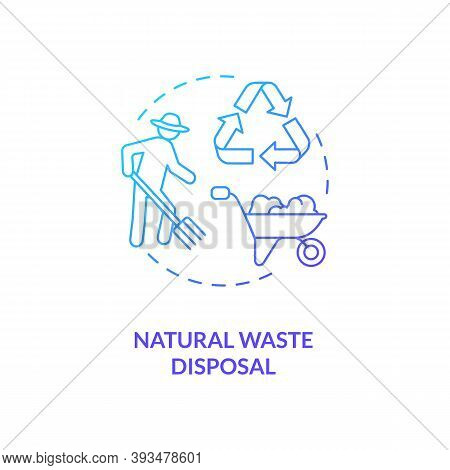 Natural Waste Disposal Blue Gradient Concept Icon. Farmer Collect Compost. Dairy Industry And Cheese