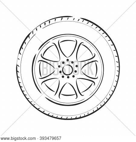 Car Wheel Vector Sketch Icon Isolated On Background. Hand Drawn Car Wheel Icon. Car Wheel Sketch . C