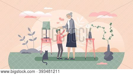 Grandmother With Grandson As Loving Togetherness Time Tiny Person Concept. Old Granny Happy When Vis
