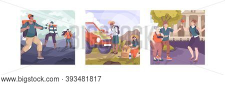 Set Of Three Excursion Compositions With Flat Characters Of Tourist Groups Sighted Guide And Outdoor