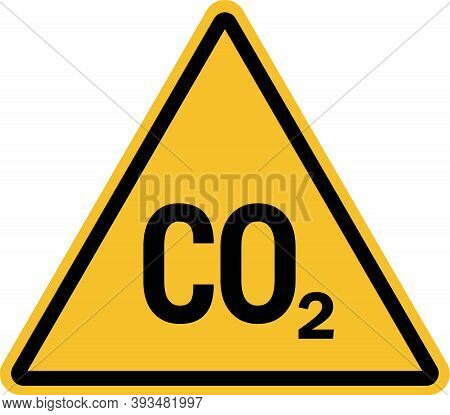 Co2 Warning Sign. Carbon Dioxide Gas Ventilate This Area. Safety Symbols And Signs.