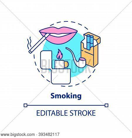 Smoking Concept Icon. Insurance Cost Factors. Bad Habbit Increases Price Of Medicine. Bigger Cost Of