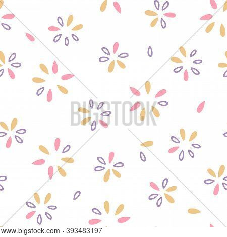 Simple Floral Seamless Pattern. Flower Petal Background. Vector Illustration. Eps 8