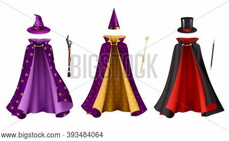 Magician Clothes Realistic Set With Isolated Images Of Gowns With Hats And Sticks On Blank Backgroun