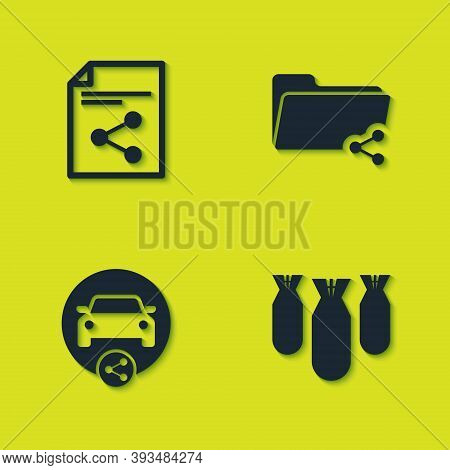 Set Share File, Aviation Bombs, Car Sharing And Folder Icon. Vector