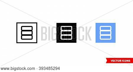 Placeholder Thumbnail Database Icon Of 3 Types Color, Black And White, Outline. Isolated Vector Sign