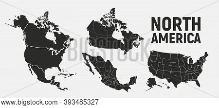 North America Map Templates. Usa, Canada And Mexico Map Isolated On White Background. North America