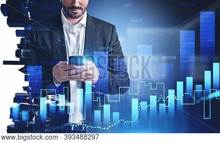 Unrecognizable Young Businessman Standing With Smartphone In Blurry Office With Double Exposure Of F