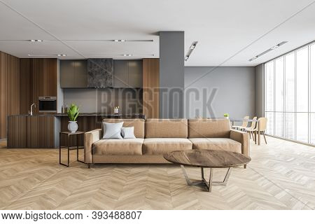 Brown Wood Living Room Apartment With Kitchen And Brown Sofa, Open Space Room With New Stylish Minim