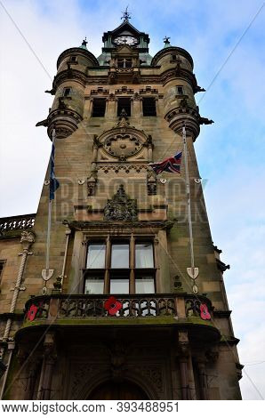 A View Of The Towering City Chambers Building With Spires And Clock Tower In Dunfermline, Scotland