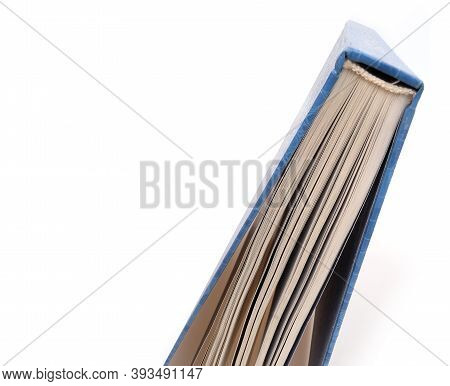 Book In Blue Cover With White Sheets Isolated On A White Background
