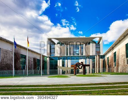 Berlin, Germany - March 21, 2020 - The German Federal Chancellery In The Government District Of Berl