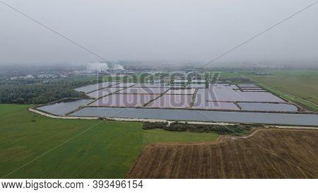 Aerial View Of Modern Industrial Sewage Treatment Plant. Sugar Refinery Sewage Treatment Plant.