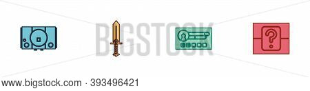 Set Video Game Console, Sword For, Create Account Screen And Mystery Random Box Icon. Vector