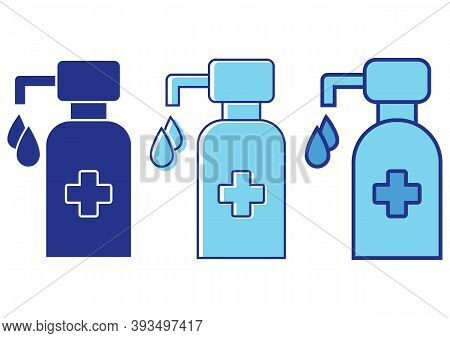 Hand Sanitizer Pump Bottle. Disinfection Concept. Liquid Soap With Pumping From Bottle. Wash Your Ha