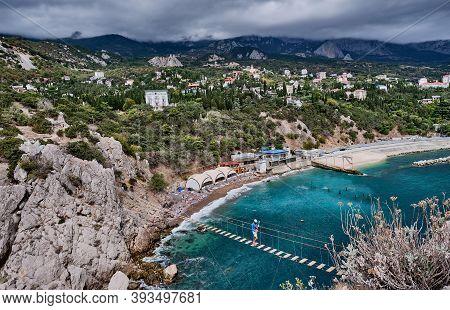 Yalta, Russia- September 19, 2020:suspension Bridge To The Diva Rock, Black Sea Coast, Near Yalta, C