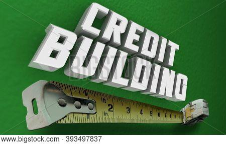 Credit Building Measuring Tape Fix Repair Rebuild Score Rating 3d Illustration