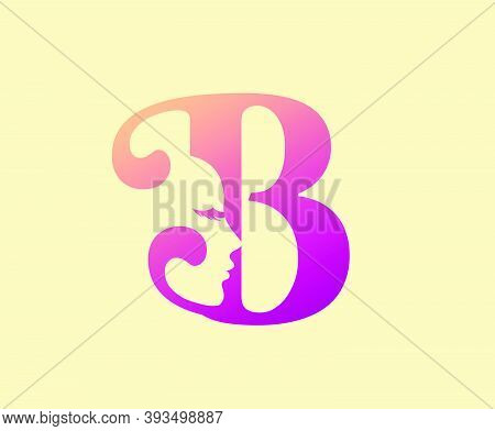 Beauty Letter B Logo Icon. Beautiful Woman's Face Shape On Letter.  Abstract Design Concept For Beau