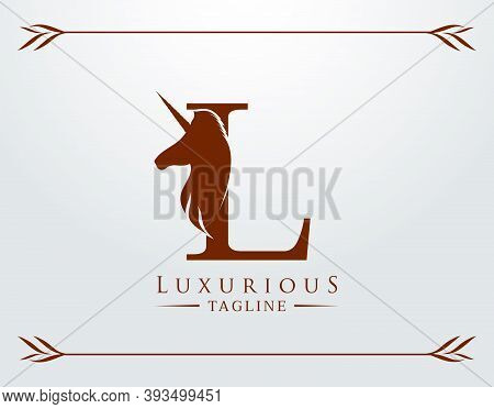 Capital Letter L With A Unicorn. Royal Logo. King Stallion In Jump. Unicon Letter Icon. Stylish Grap