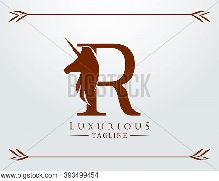 Capital Letter R With A Unicorn. Royal Logo. King Stallion In Jump. Unicon Letter Icon. Stylish Grap
