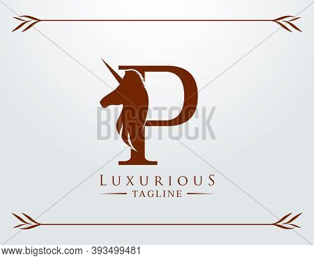 Capital Letter P With A Unicorn. Royal Logo. King Stallion In Jump. Unicon Letter Icon. Stylish Grap