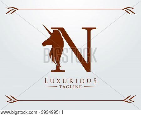 Capital Letter N With A Unicorn. Royal Logo. King Stallion In Jump. Unicon Letter Icon. Stylish Grap