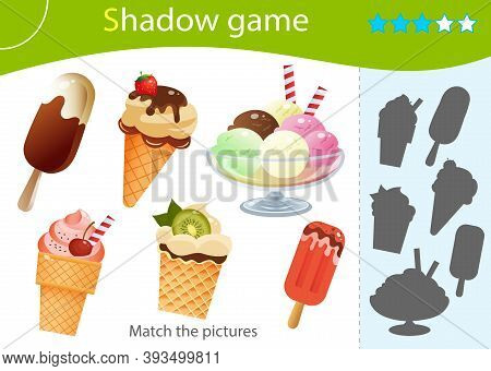 Shadow Game For Kids. Match The Right Shadow. Color Images Of Ice Cream. Plombir And Fruit Ice. Ice