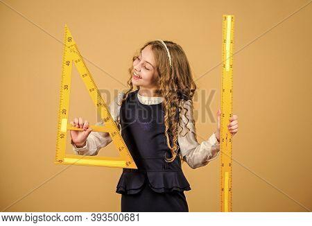 School Student Study Geometry. Kid School Uniform Hold Ruler. Geometry School Subject. Education And