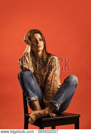 Feeling Upset Alone. Feeling Loneliness. Lonely Woman Sit On Chair. Phycology. Portrait Of Woman Wit