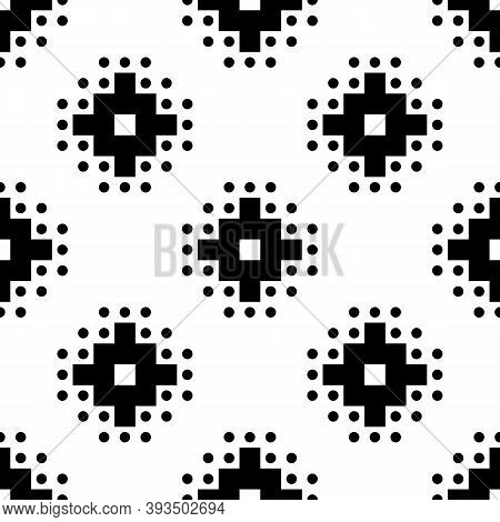 Seamless Pattern. Inca Crosses, Circles Ornament. Ethnical Folk Wallpaper. Ethnic Embroidery Backgro